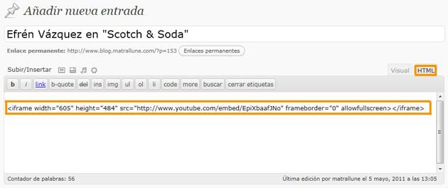 Pegar código de Youtube en nuesro blog
