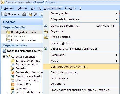 Configuración de cuenta de correo en Outlook